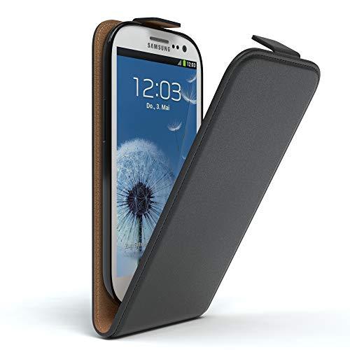 EAZY CASE Hülle für Samsung Galaxy S3 / S3 Neo Hülle Flip Cover zum Aufklappen, Handyhülle aufklappbar, Schutzhülle, Flipcover, Flipcase, Flipstyle Case vertikal klappbar, aus Kunstleder, Schwarz