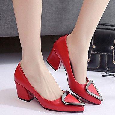 LvYuan Da donna Sandali PU (Poliuretano) Primavera Estate Quadrato Nero Grigio chiaro Rosso 5 - 7 cm Black