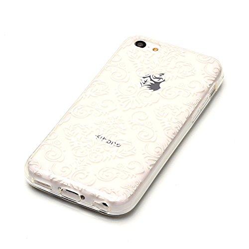 Coque iPhone 7 Transparente, LuckyW Housse Etui TPU Silicone Clear Clair Transparente Gel Slim Case pour Apple iPhone 7 7S(4.7 Pouces) Soft de Protection Cas Bumper Cover Converture Anti Poussières Co Fleur de dentelle