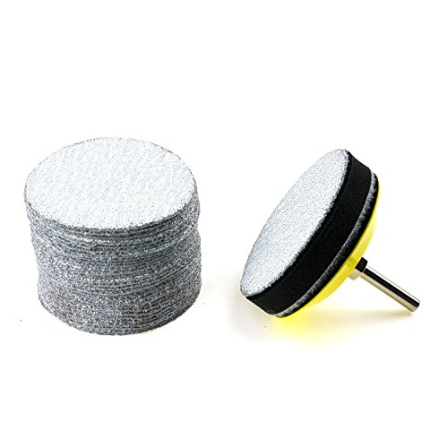 3 inches 60 Grit Aluminum Oxide Coarse White Dry Hook and Loop Sanding Discs with a 1/4 inch Shank Backing Pad + Soft Foam Buffering Pad for DIY Woodworking, 30-Pack Test