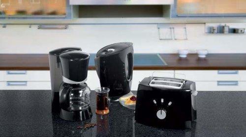 3 in 1 Frühstücks Set im Klassischen Schwarzen Design Kaffeemaschine - Toaster - Wasserkocher
