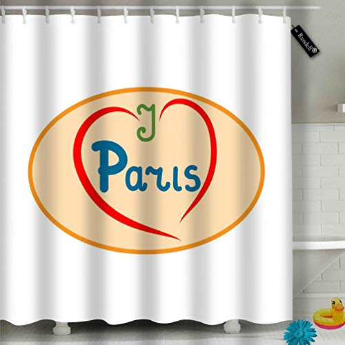 Randell Bathroom Shower Curtain Quote I Love Paris Girl Waterproof Fabric Shower Curtain 60(W) X 72(L) Inches For Men Women Kids