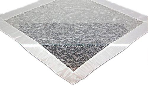 Tischdecke 110x110 cm modern Organza weiß Mitteldecke mit Satinrand ausgefallene STICKEREI Knötchen