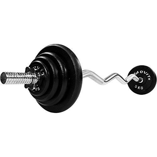 MOVIT® SZ Curlset aus GUSSEISEN, Variante 26 kg oder 66,5 kg, Stange verchromt & gerendelt 120 cm x Ø 3 cm STANDARDNORM mit Sternverschluss