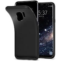 vau Galaxy S9 Hülle SoftGrip Case - Handy Schutz-Hülle Silikon Rückseite (matt schwarz)