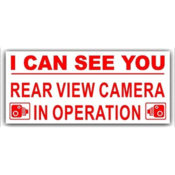 Platinum Place 1 x Rear View Camera In Operation Stickers-EXTERNAL CCTV Signs-Van,Taxi,Car,Cab RED on WHITE,Lorry,Truck,Bus,Mini,Minicab Safety and Security-Go Pro,Dashcam