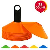 REEHUT Agility Disc Cone Set of 25 with FREE USER E-BOOK & Plastic Holder - Perfect For Soccer, Football & Any Ball Game To Mark - Disc Mini Training Cones - Field Markers