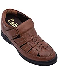 Celby Genuine Leather Height Increasing Casual Velcro Elevator Sandal In Colour Tan