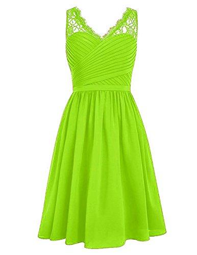 HUINI Damen Brautjungfernkleider Kurz Chiffon V-Ausschnitt mit Spitzen Ballkleider Abendkleider Partykleider Cocktailkleider Lime Green 34 (Lime-grün-cocktail-kleid)
