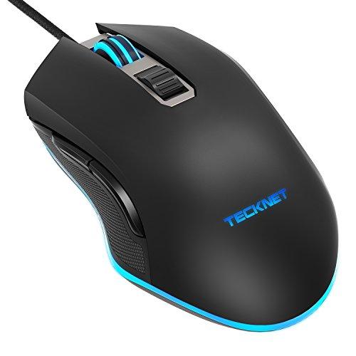 TeckNet Mouse Gaming, Mouse da Gioco 8 Tasti Programmabili, Personalizzabile, Microswitch Omron, Pulsante di Alimentazione del Fuoco