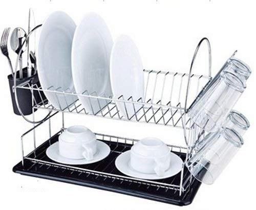 Nalian® Abtropfgestell, verschiedene Modelle,Besteckkasten-Halterung, Gläser, Teller, Becken, Tablett, Wasserauffangbehälter, Etage noir