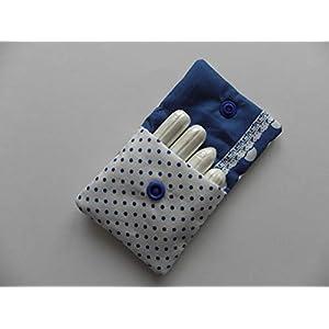 Blau weißes Tampontasche, Minitäschchen mit Punkten – handmade