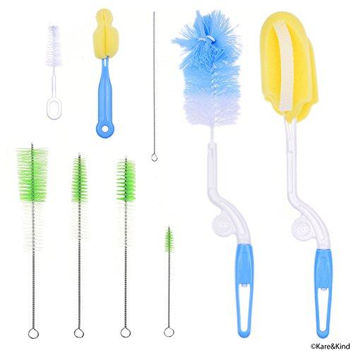 Set di 9 spazzole di pulizia per pulire biberon latte/acqua bambini, tettarella, cappucci, cannucce, tubetti ecc. - rende più semplice la routine per sterilizzare il biberon - grado alimentare sicuro