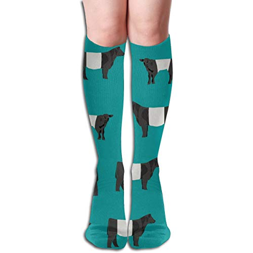 Women's Fancy Design Stocking Belted Galloway, Belted Galloway Cow, Cow, Cattle, Farm, Farm Animals, Farm By The Yard, Farm Animals - Blue Multi Colorful Patterned Knee High Socks 19.6Inchs -