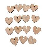 perfk Holzherzen Holz Scheiben Holzscheiben mit Loch Herz Anhänger Verzierung Hochzeitsschmuck DIY Kunst Handwerk Zimmerdeko - 100 Stück, 40mm