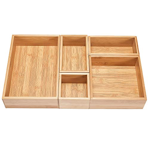 Bambus-fünf Schubladen (5-teiliges Bambus-Schubladen-Organizer-Set, Premium-Aufbewahrungsbox-Kit, erweiterbare Schubladenteiler für Büro, Bad und Zuhause)