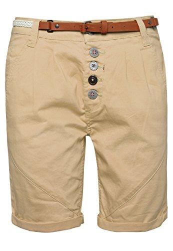 SUBLEVEL Damen Chino-Shorts mit Gürtel | Bermuda Hose kurz | Kurze Hose für Frauen in angesagten Farben light-beige L