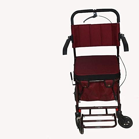 Andador con asiento acolchado 4 ruedas Metal mayores ocio caminando supermercado supermercado Walker carrito de compras , red