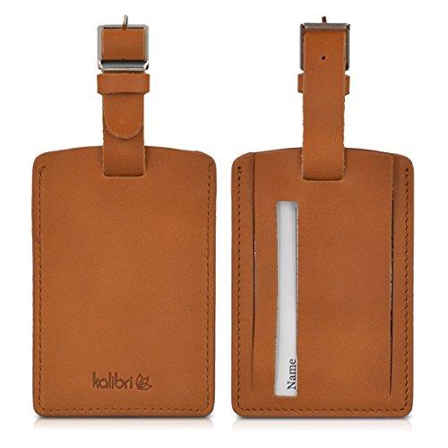 kalibri-Koffer-und-Adressanhnger-mit-Grtelschnalle-fr-Gepckstcke-aus-Echt-Leder-mit-diskretem-Adressschild-braun