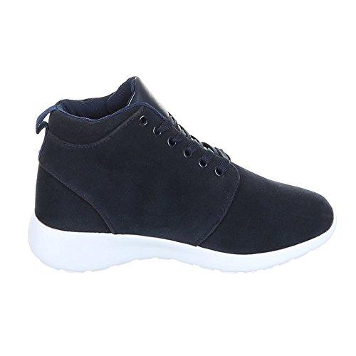 Damen Schuhe Schnürer Schlangenoptik High Top Sneakers Sportschuhe Freizeitschuhe Blau