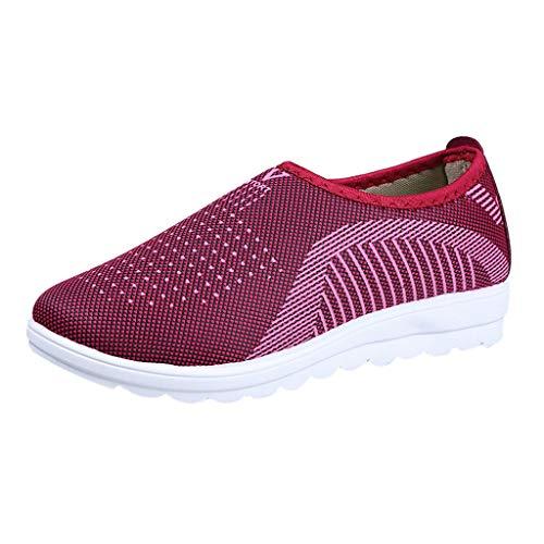 Yvelands Loafers weichen Schuhen Flache Damen Mesh Hose mit bequemen Walk Strip Sneakers(rot(Damen),40) -