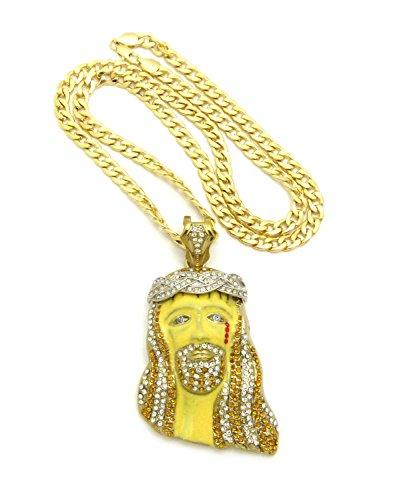 Strassbesetzter Krone der Dornen Blut reißen Jesus Kopf Anhänger w/ 7 mm 76 cm Cuban Halskette, (Von Krone Dornen)