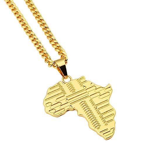 ORKST Hip Hop 18K Gold Überzug Afrika Karte Anhänger Edelstahl Männer Halskette Schmuck (Gold Afrika-karte Anhänger)