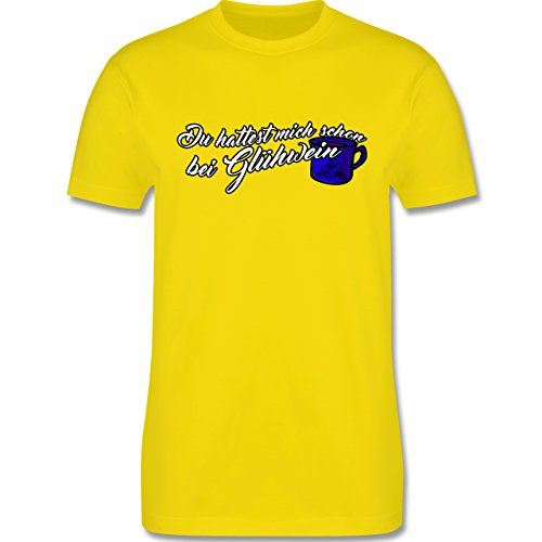 Weihnachten - Du hattest mich schon bei Glühwein - L190 Herren Premium Rundhals T-Shirt Lemon Gelb