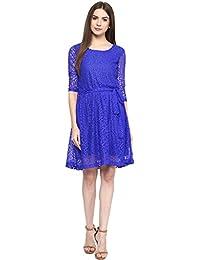 SWAGG WOMEN'S A LINE BLUE DRESS