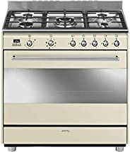 Smeg 90cm Cream Gas/Electric Cooker, SSA91MAP9 126L Gross Oven Capacity - 1 Year Warranty