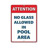 Warnschild, Warnschild, Aufschrift Achtung No Glass Allowed in Pool Area, Warnschild, Warnschilder, für Gefahrenhaus, Hausdekoration, Hof, Warnhinweis, lustige Metallschilder, 8 x 12 cm