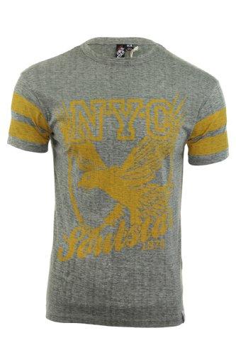 Soul Star Herren T-Shirt Rundhalsausschnitt NYC 'Burst' Burnout Graphik Druck Jersey Burst (Grün)