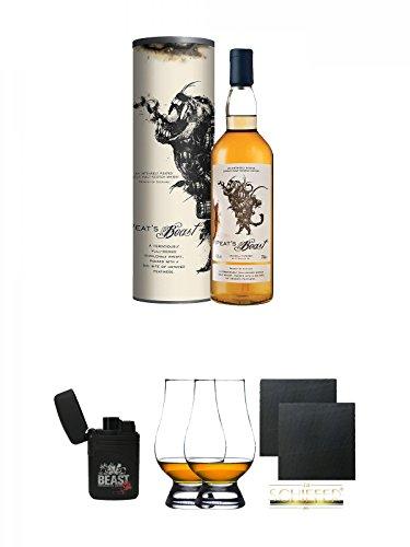 Zwei Laserjet (Peats Beast Single Malt Whisky 0,7 Liter + Beast Feuerzeug Laser Jet + The Glencairn Glass Whisky Glas Stölzle 2 Stück + Schiefer Glasuntersetzer eckig ca. 9,5 cm Ø 2 Stück)