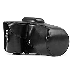 """Megagear""""ever Ready"""" Protective Black Leather Camera Case, Bag For Nikon D3200, Nikon D3300 With 18-55mm Lens"""