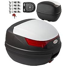 A-Pro – Top case, maletín para moto, quad, 46 litros, universal, blanco