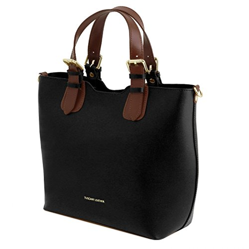 Tuscany Leather TL Bag Borsa a mano in pelle Saffiano - TL141696 (Giallo) Nero