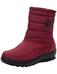 Beikoard Damen Winter Wasserdichte Rindfleischsehne Boden Baumwolle Stiefel Sowie SAMT Warme Schuhe Anti-Skischuhe Mittlere gealterte Stiefel Gefüttert