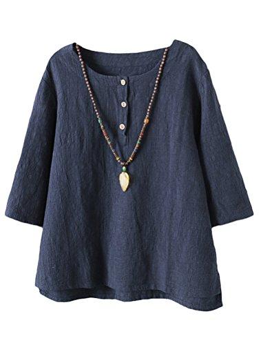 Vogstyle Damen Baumwoll Leinen Tunika T-Shirt Jacquard Oberseiten Navy M -