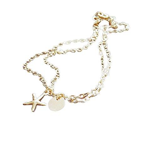 Man9Han1Qxi Mode Faux Perle Starfish Hochzeit Verlobungsarmband Frauen Brautschmuck Armbänder Für Männer und Frauen Golden Starfish#