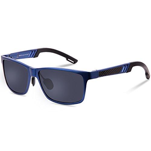 DUCO Rechteckig Sonnenbrille Herren Brille mit Federscharnier, Metallrahmen 2217 (Gestell: Blau, Gläser: Grau)