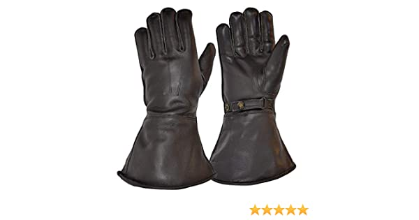 Aviation GOLDTOP Mens Classic Merino Wool Lined Leather Motorcycle Gauntlets Dispatch Despatch Rider Driving Style Vintage 1960s 1970s Long Sleeve Over the Cuff Gloves for Winter Aviator 2 Colours!