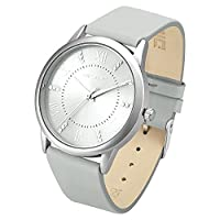 Dictac Wristwatch Lady Analg Quartz White Leather Strap 98ft Waterproof Classic Round Watch (Grey)