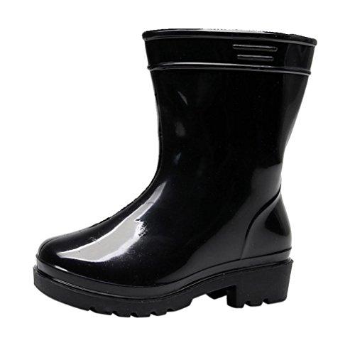 JERFER PVC Kinder Regenstiefel | Bunte Unisex-Gummistiefel Für Mädchen und Jungen | Wasserabweisend und schadstofffrei (26, Schwarz)