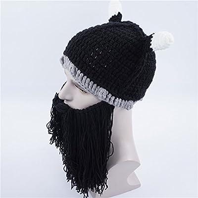 Qingsun Chapeau Vikings Tricoté Bonnet et Barbe Costumes de Cosplay drôle chapeau sorcière rigolo chapeau de sorcière Halloween pour Adulte Enfant