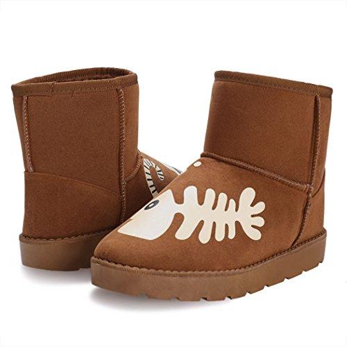 MEXI Damen beil?ufiger Winter-warmer Kn?chel-Schnee-Aufladungen flache Schuhe Braun