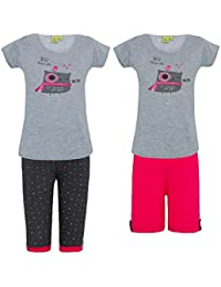 Punkster 100% Cotton Top, Printed Capri & Pink Shorts for Girls
