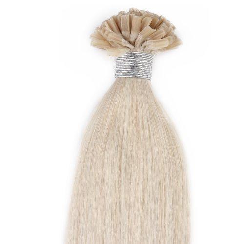 Beauty7 100 Extension de Cheveux Naturel U-Tip Pose à Chaud Nail Tip Longuer 50CM Couleur #60 Blond platine 0.5g/mèche Total 50g