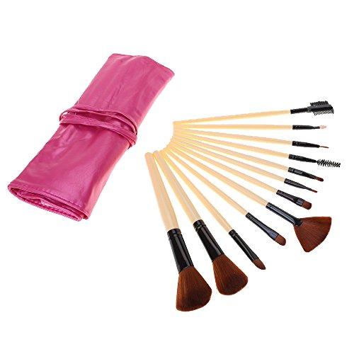 12 pièces brosse de maquillage fixé lèvre d'alimentation eyeliner fard à paupières cheveux synthétiques premium rose rouge avec étui