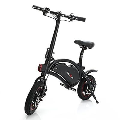 Elektrofahrrad 12 Zoll Faltbares E-Bike mit App Geschwindigkeitseinstellung,E-Faltrad,36V 350W Heckmotor,mechanische Scheibenbremsen,Schnelle Aufladung,Schwarz,Rollgan
