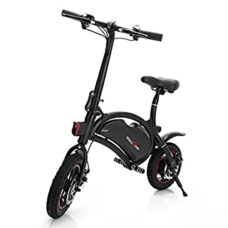 ROLLGAN Dolphin Electric Bike 12 inch Folding Body E-Bike Scooter with 12 Mile Range,Collapsible Frame,APP Speed Setting,36V 350W Rear Engine Electric Bicycle,Mechanical Disc Brakes,Black
